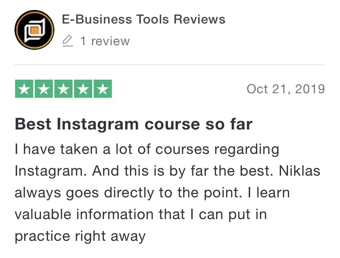 Niklas Pedde Instagram University Trustpilot Testimonial 15