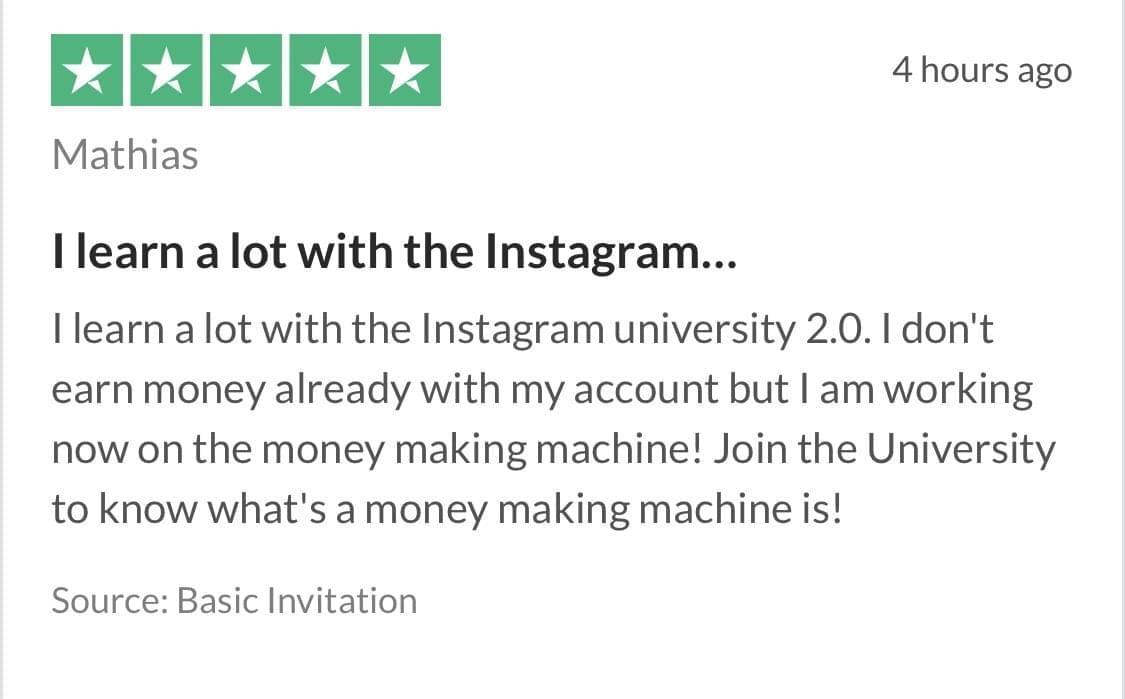 Niklas Pedde Instagram University Trustpilot Testimonial 9