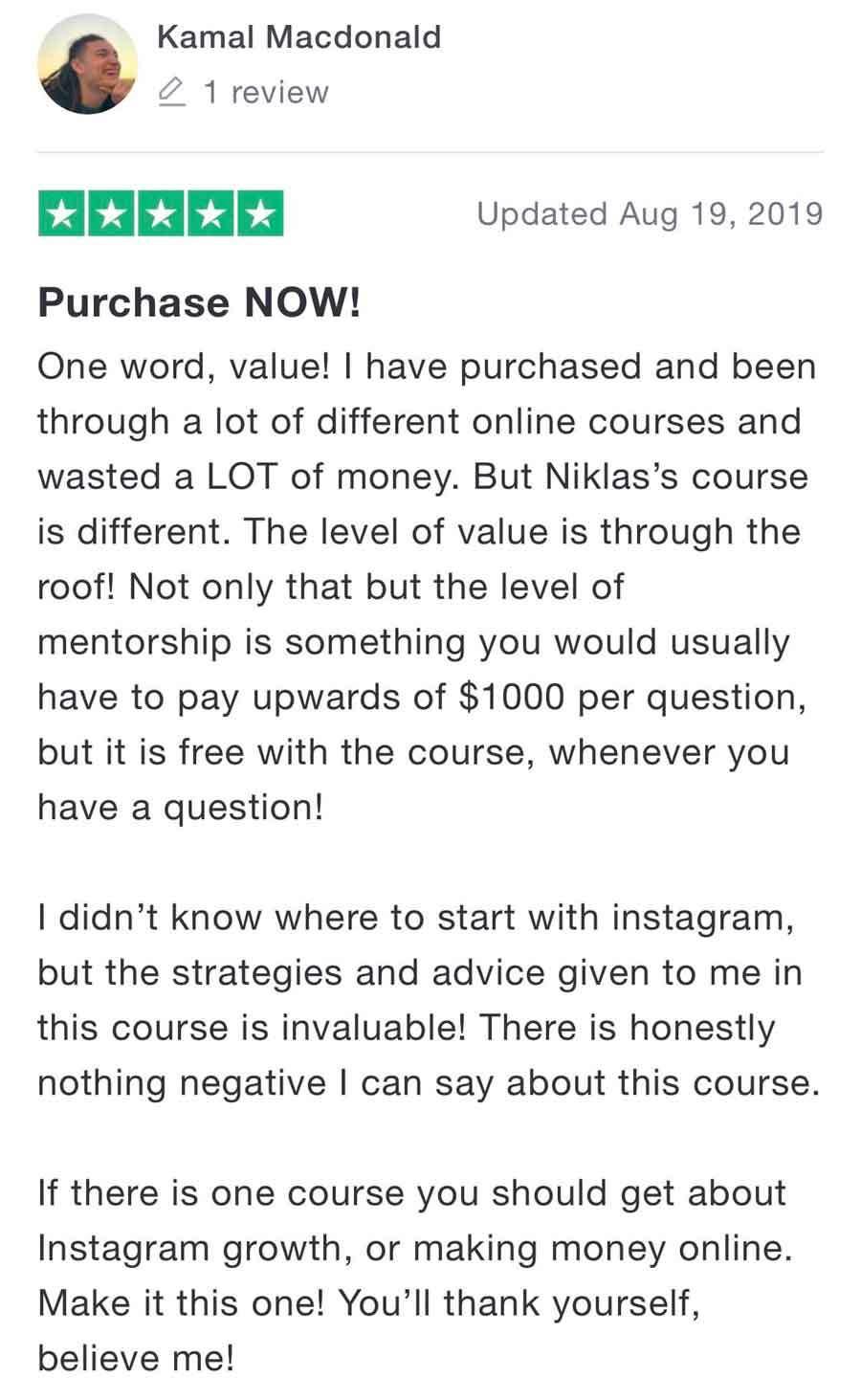 niklas pedde instagram university trustpilot review 1